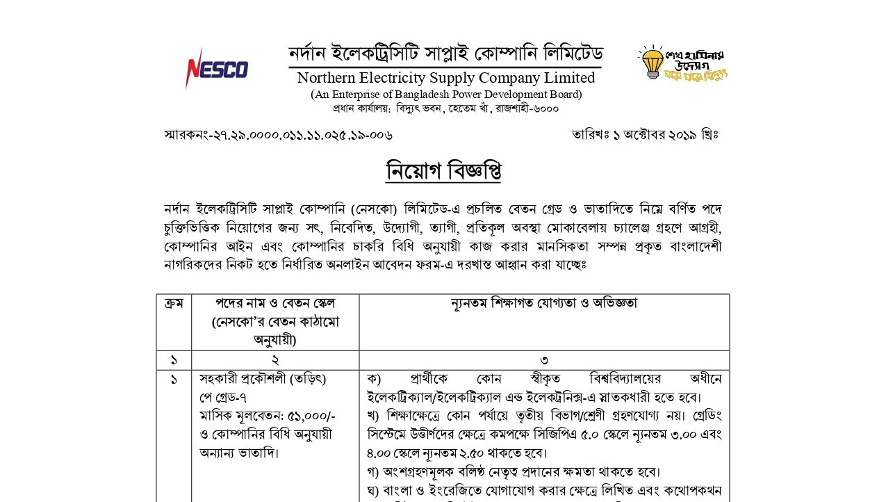 Northern Electricity Supply Company Limited NESCO Job Circular 2019